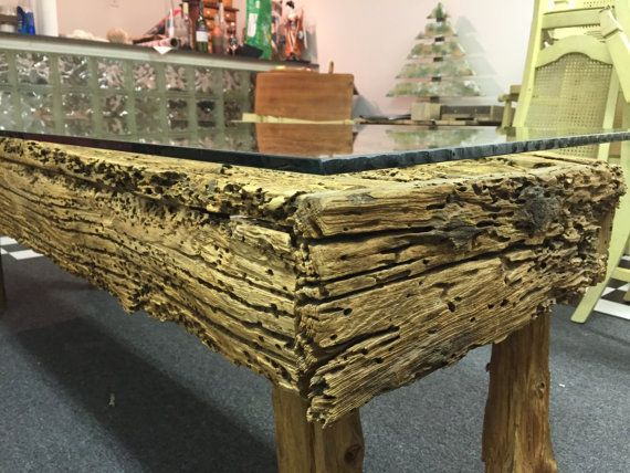 Unique weathered barn wood coffee table by PapaTomsPallets on Etsy