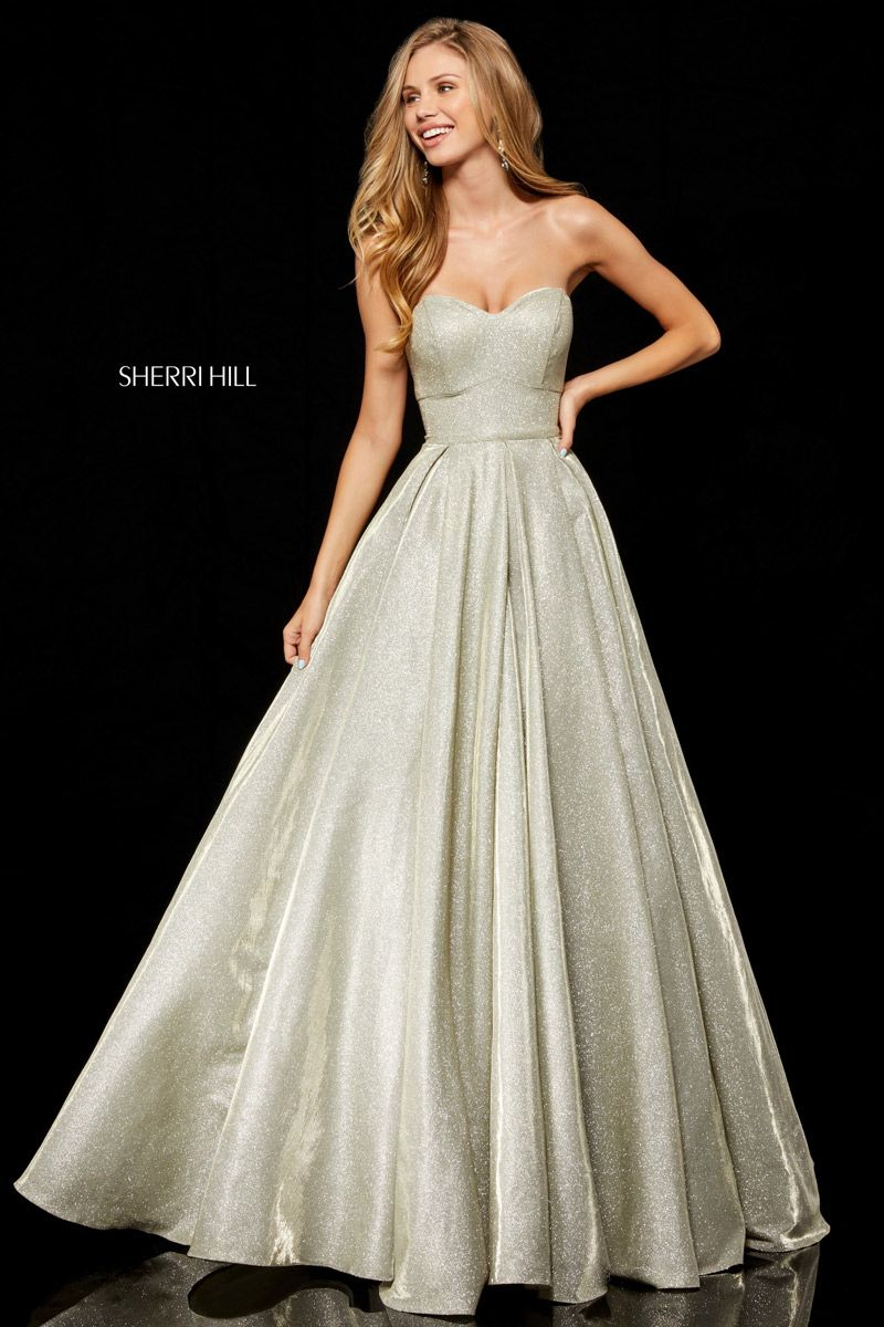 16458a887f17 Sherri Hill 52391 is a strapless glitter stretch A-line gown with an open  lace up back.