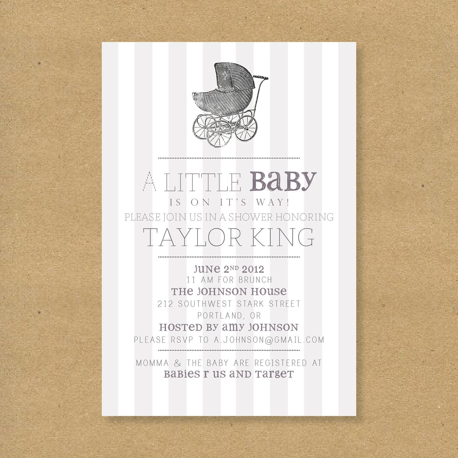 Baby Shower Invitation Vintage Baby Carriage Boy by HENANDCO, $16.00 ...
