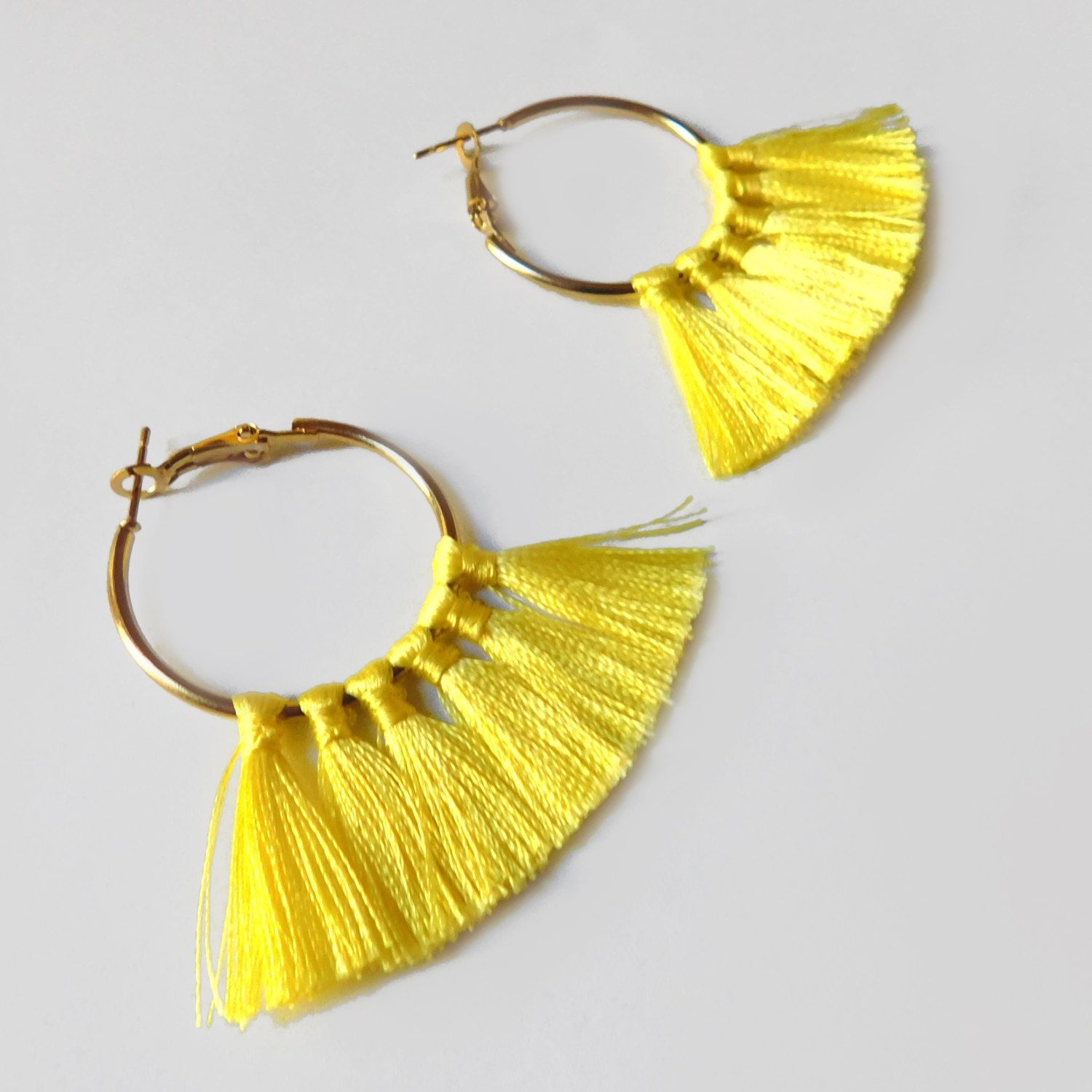 Hoop Tel Earrings Yellow By Adarri On Etsy