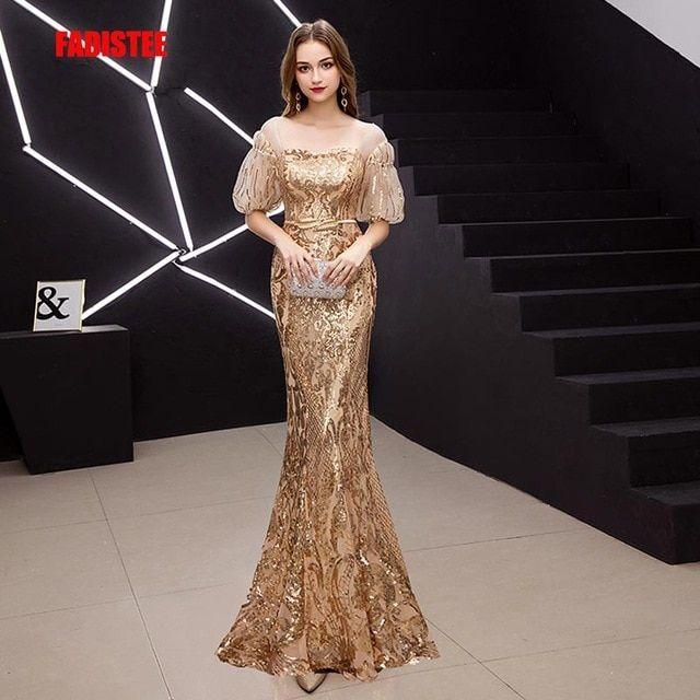 f7a2f8759d FADISTEE New arrival elegant prom dresses Vestido de Festa gown mermaid  Robe De Soiree half puff sleeve sleeves bling sequins Review