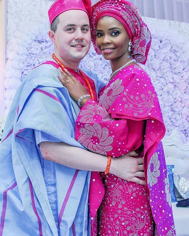 Beautiful couple at their multicultural wedding celebration | bw/wm ...