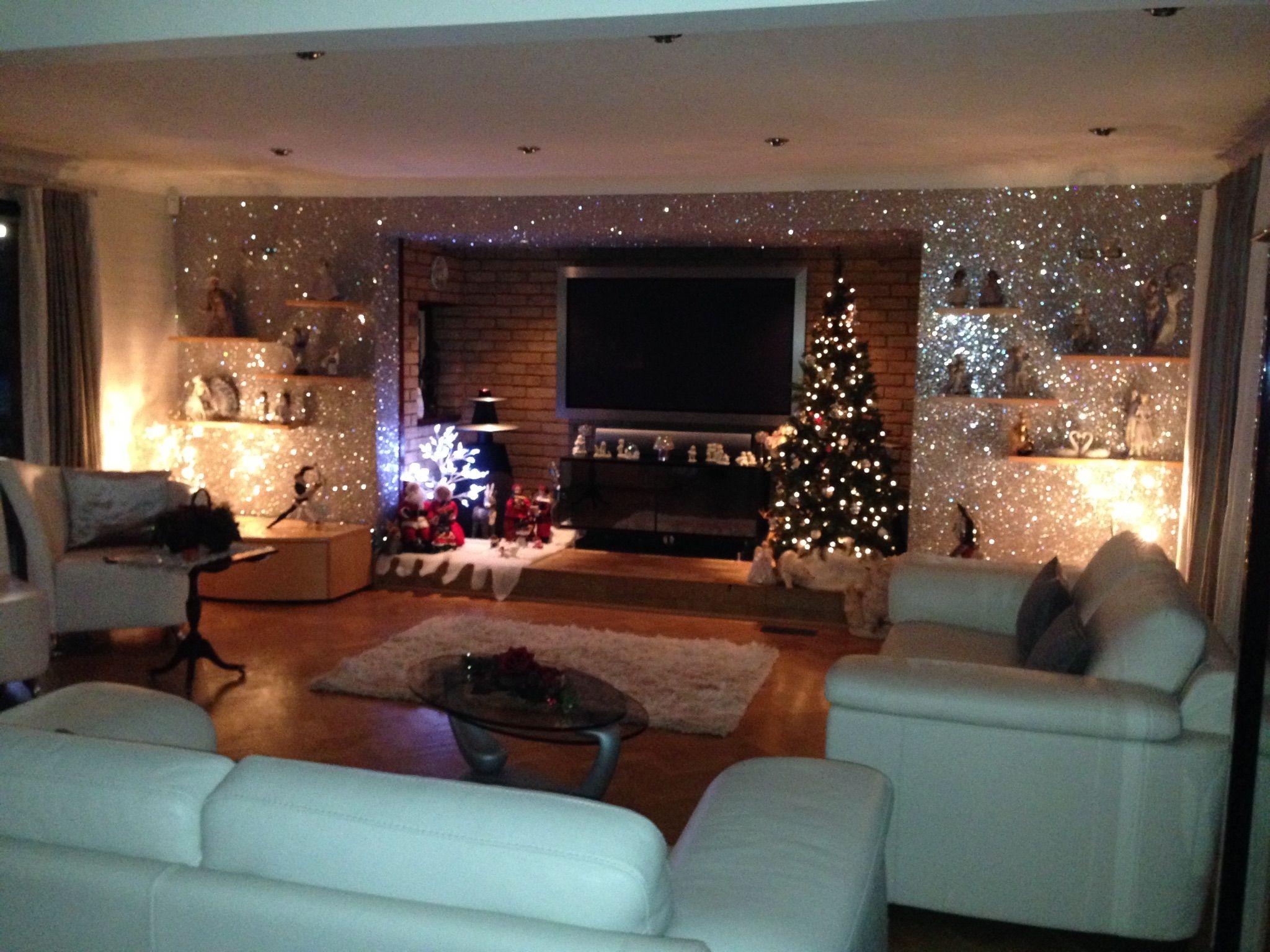 Another christmas tree glitterwallpaper room shot sent for Glitter wallpaper living room