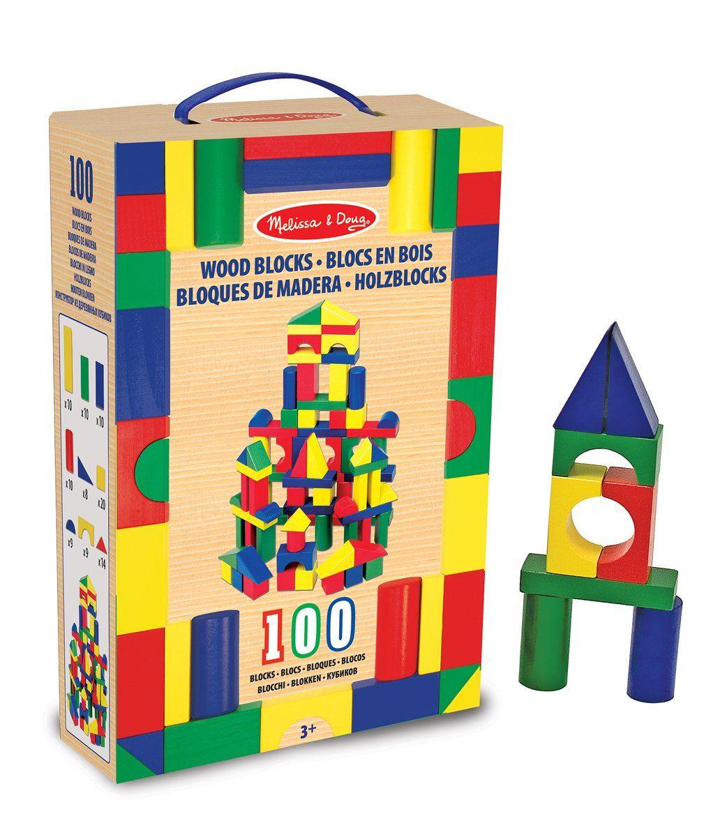 Melissa & Doug 100 Wood Building Blocks Set, Toys & Games