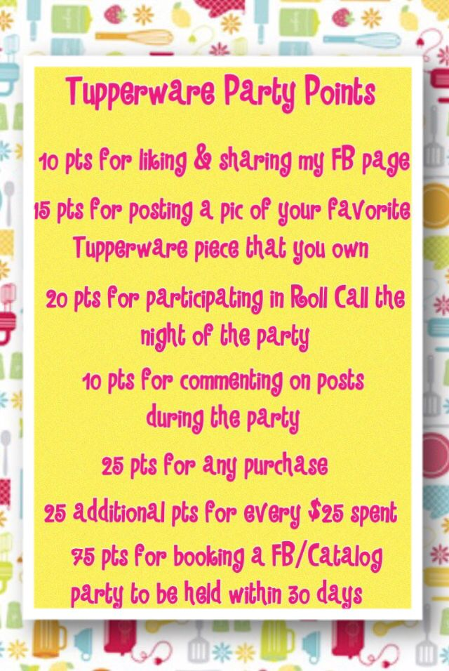 tupperware party points for a facebook party much easier than rh pinterest com tupperware facebook party games tupperware party invitations