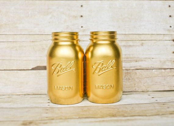 Hey, I found this really awesome Etsy listing at https://www.etsy.com/listing/228644508/painted-mason-jars-gold-jars-wedding