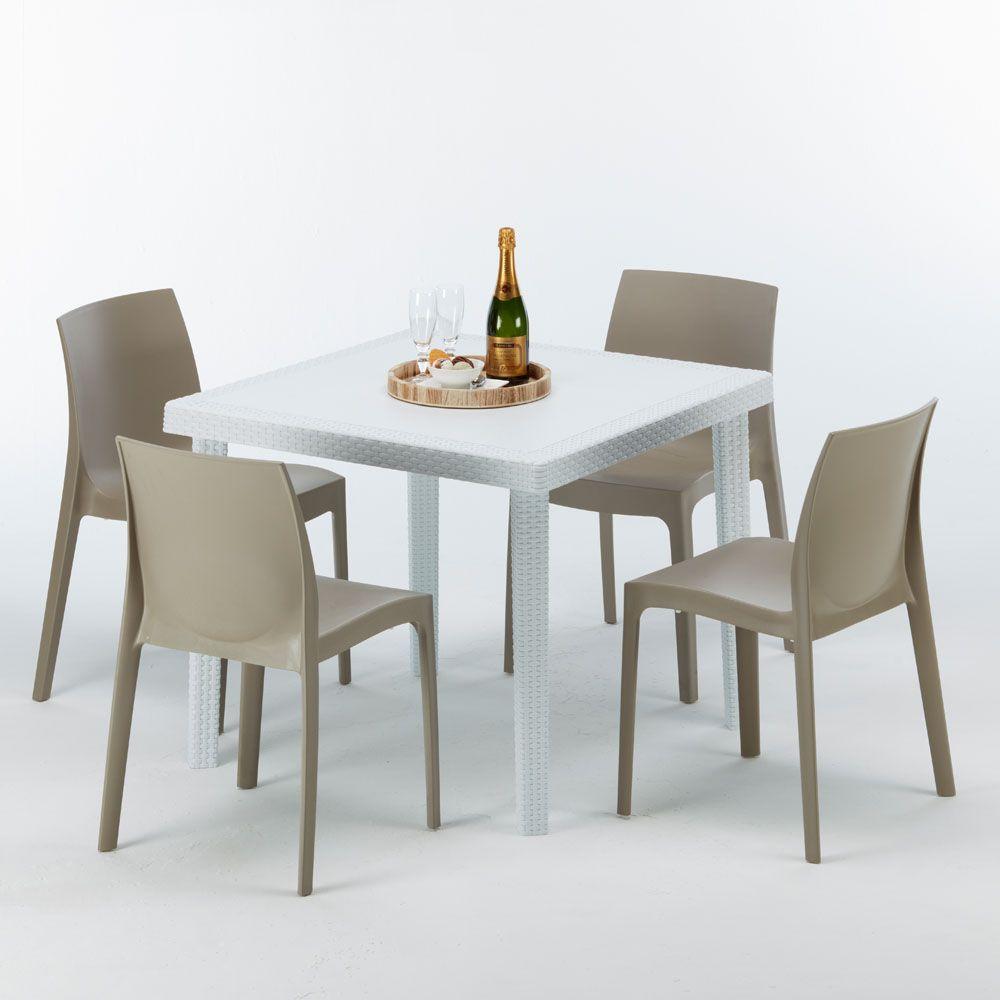 Tavoli Da Giardino In Resina Grand Soleil.Tavolo Quadrato 4 Sedie Rattan Sintetico Polyrattan Colorate