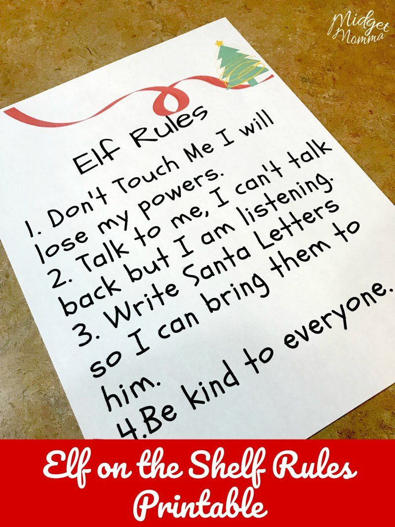 Elf on the shelf Rules Printable