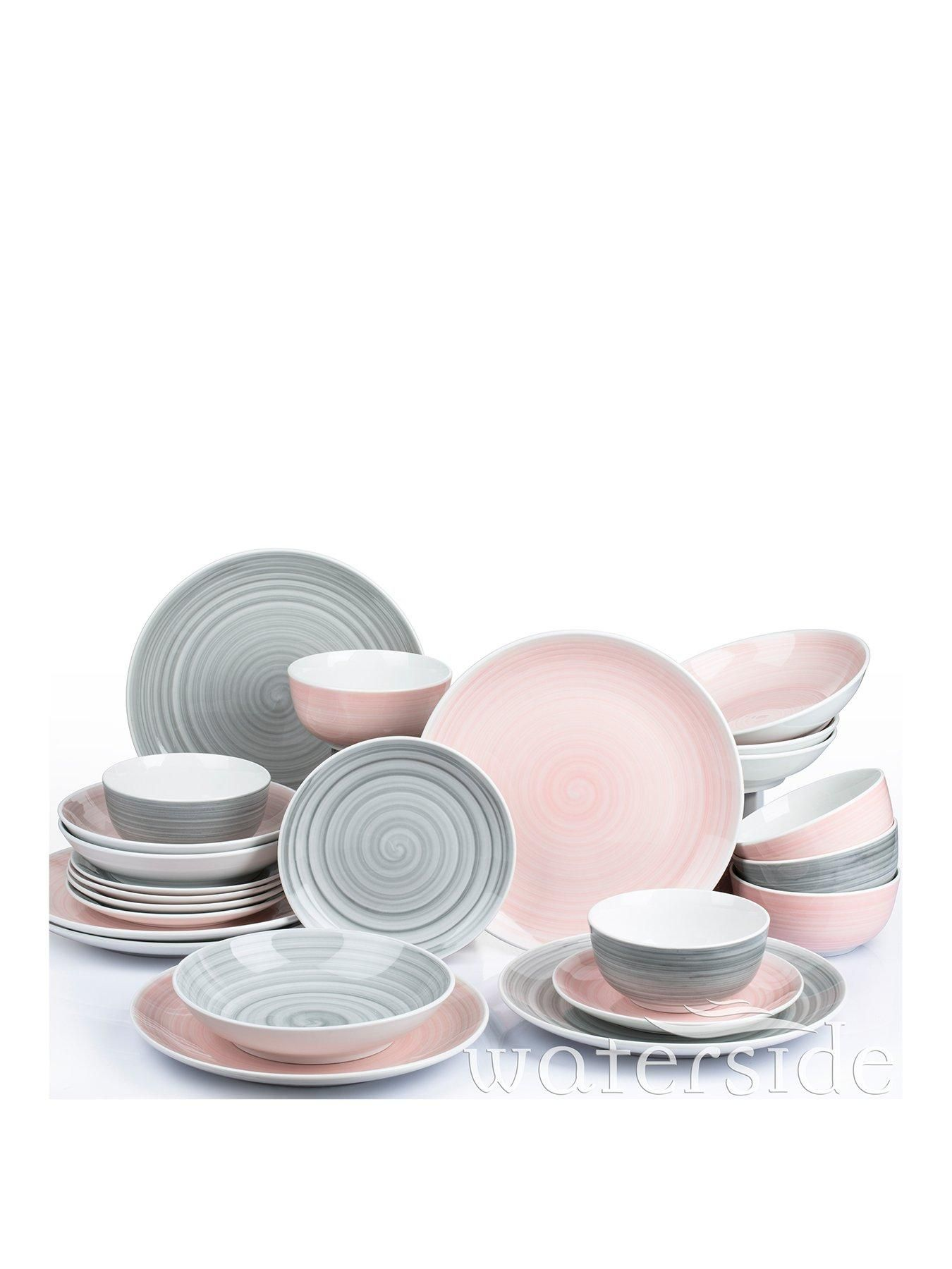 Pink And Grey Spin Wash Dinner Service