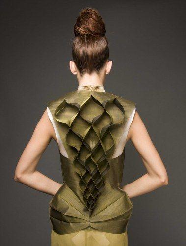 Shinaz Enginee fabric manipulation dress back #fashion #texture