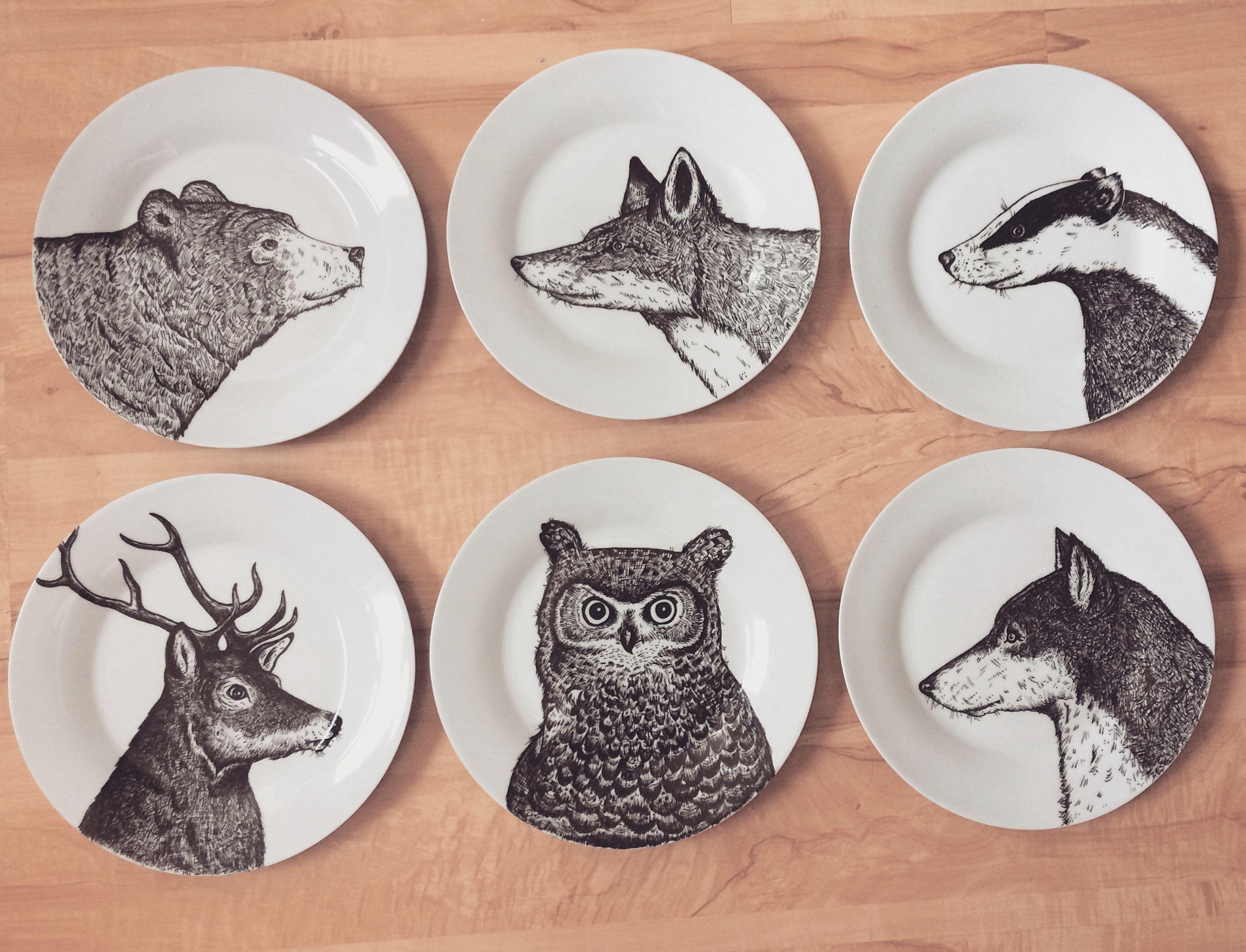 6 Plate Set Dinner Plates Hand Illustrated Hand Painted Dish Customised Illustration Custom Order Ceramics Illustratio Kitchen Decor Rustic Decor Animal Plates