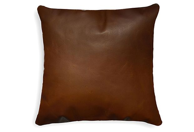 One Kings Lane - Mixed Materials - Sienna 16x16 Leather Pillow, Cognac