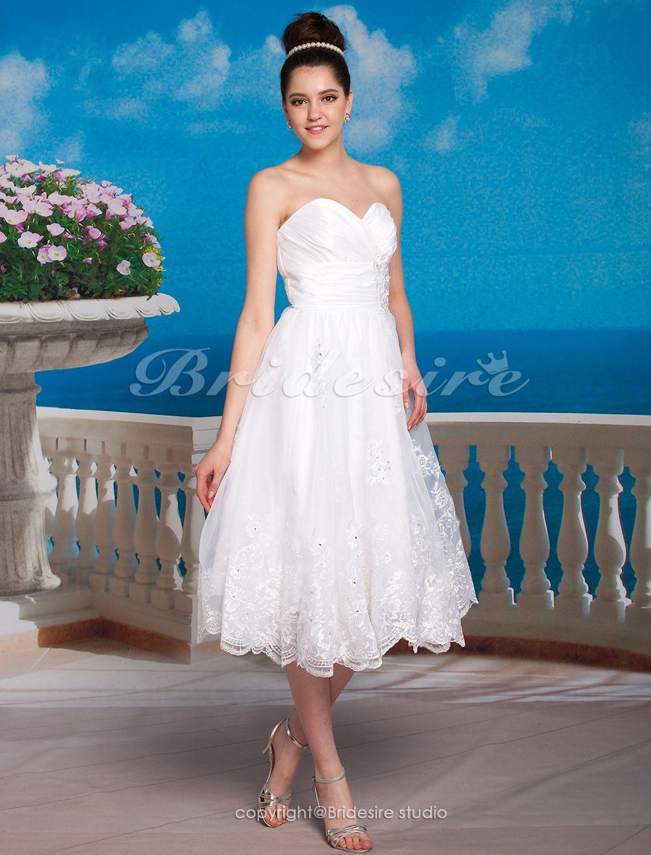 Bridesire - A-line Satin Tea-length Sweetheart Wedding Dress [172458 ...