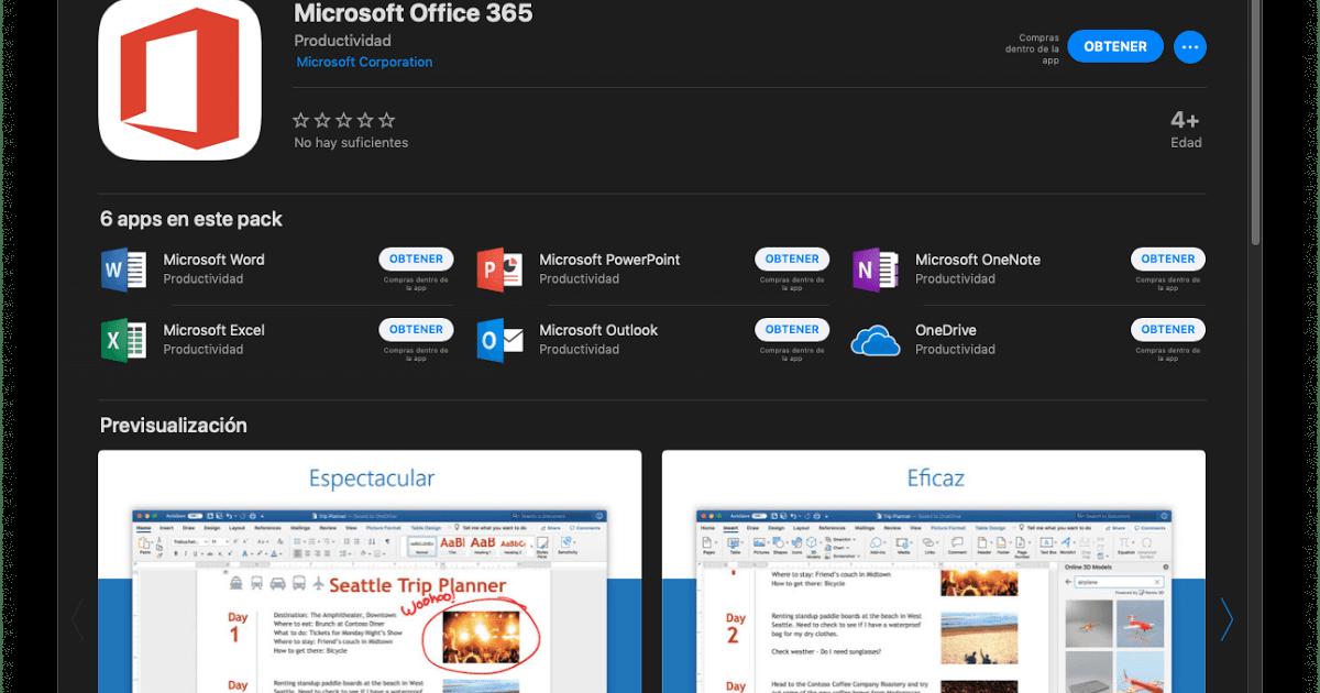 Microsoft Office 365 disponible en la Mac App Store
