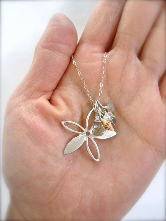 Shell sterling silver beach necklace beachy jewelry by Tidepools