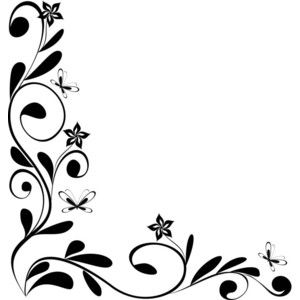 Flowers Border Design Black And White Flower Border