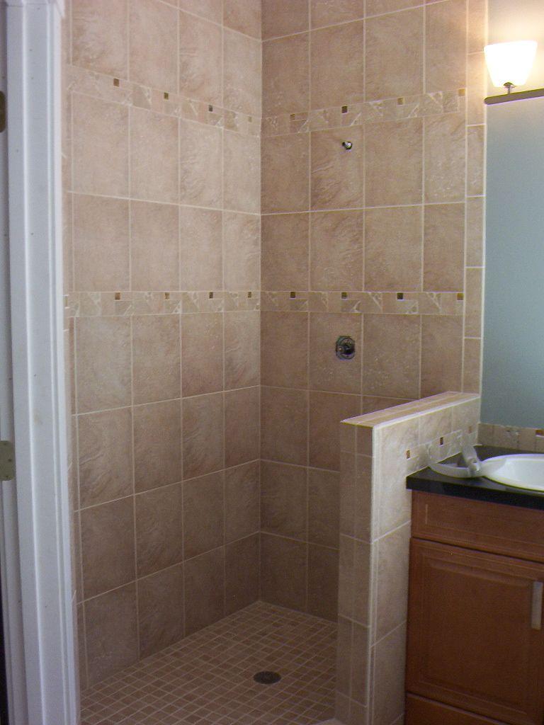 small tiled shower |tile shower floor- half wall | Small ...
