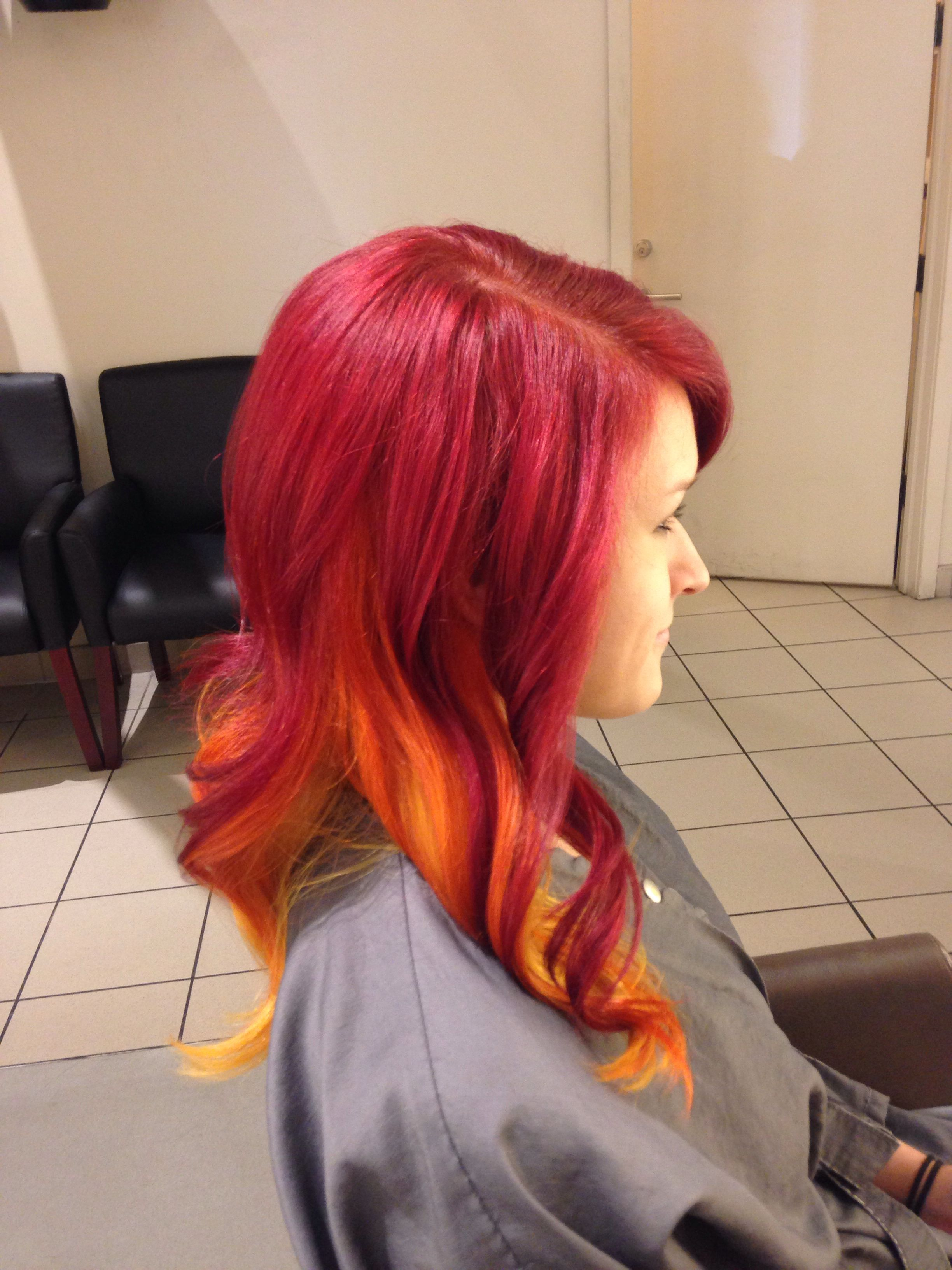 Red ombré hair #fire