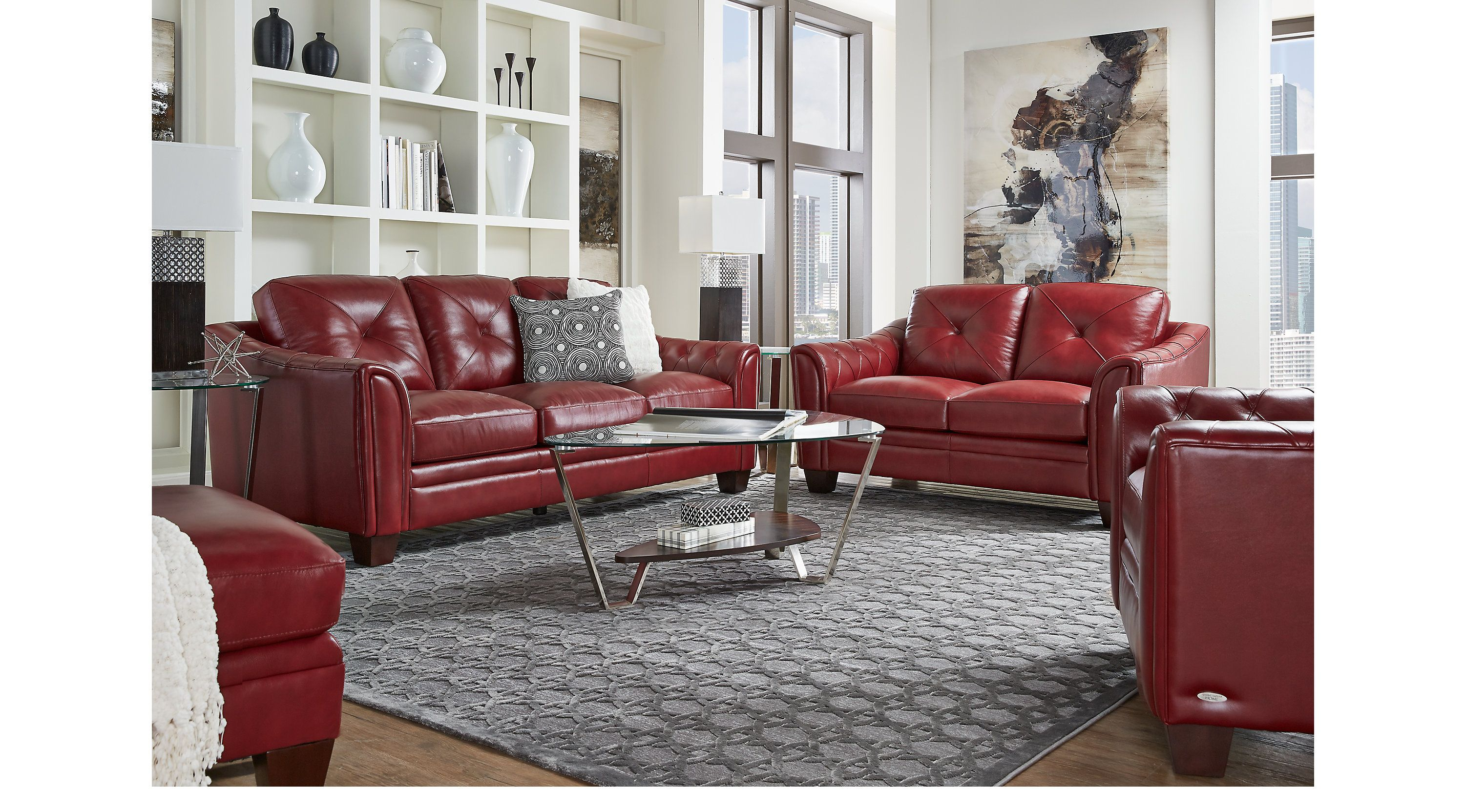 Living Room Sets Cindy Crawford Cindy Crawford Home Marcella Red Leather 3 Pc Living Room 1029262p Leather Couches Living Room Red Couch Living Room Leather Sofa Living Room