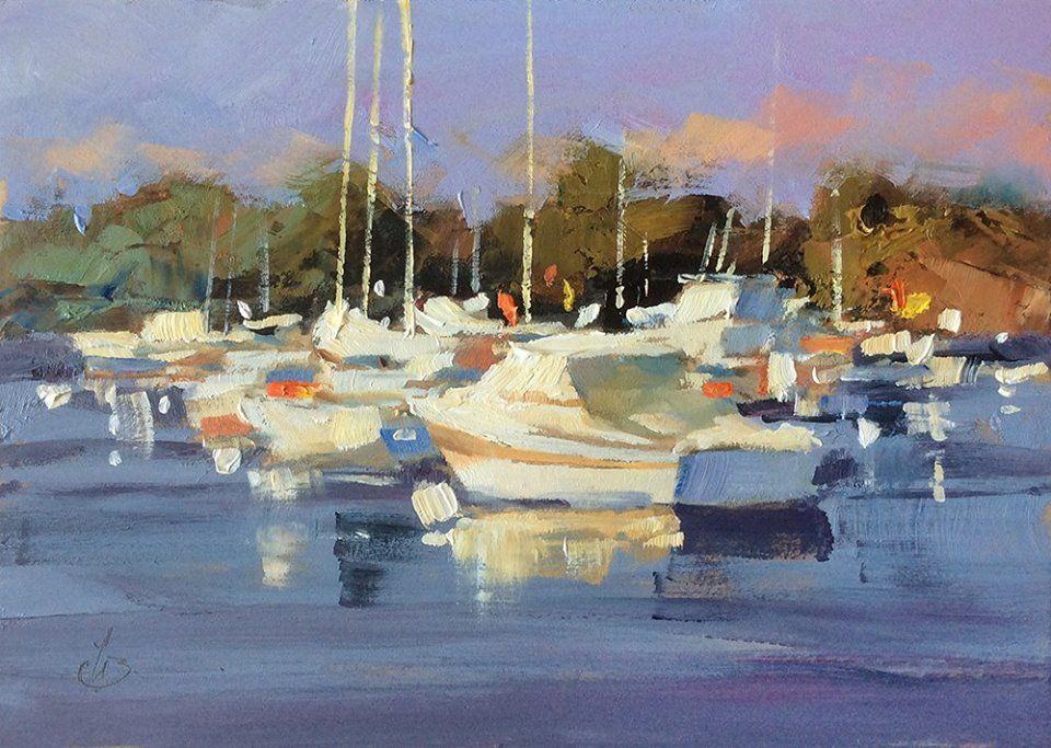 Harbor Boats, art by John Bohnenberger - California Watercolor
