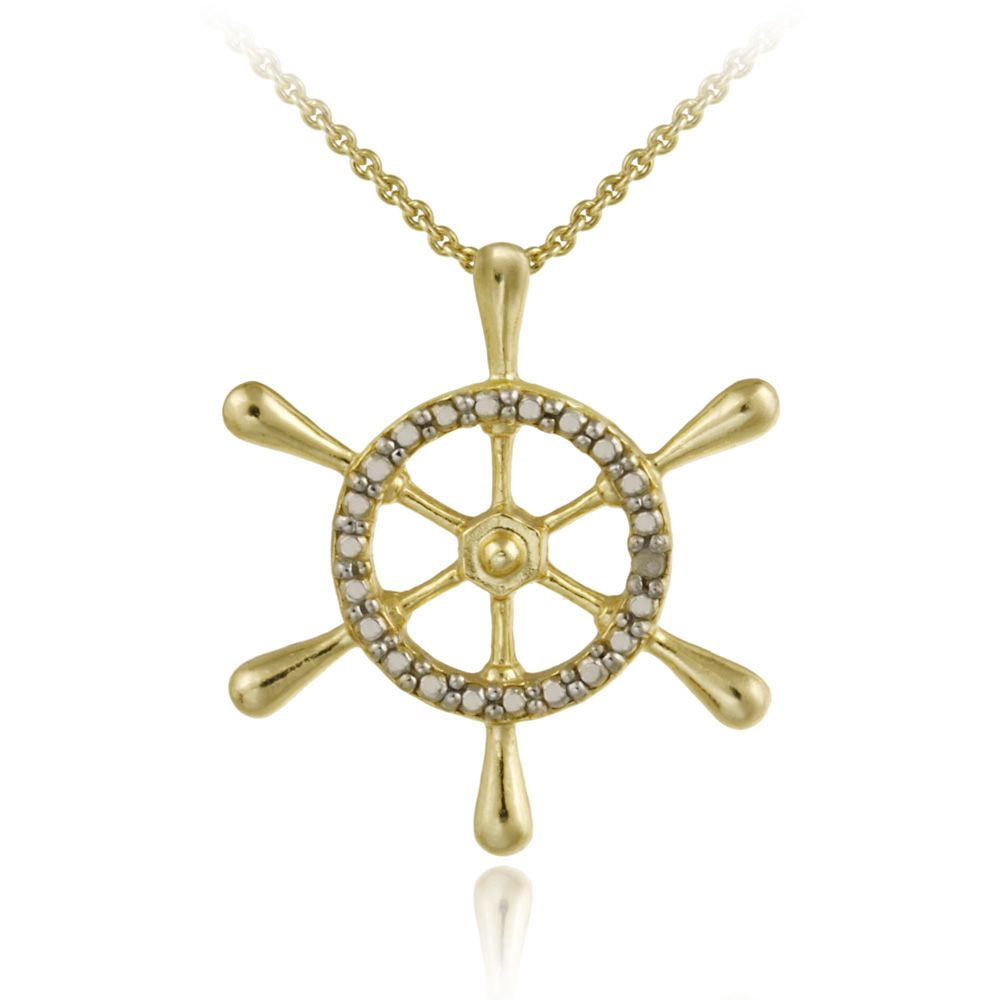 K gold over sterling silver diamond accent anchor pendant