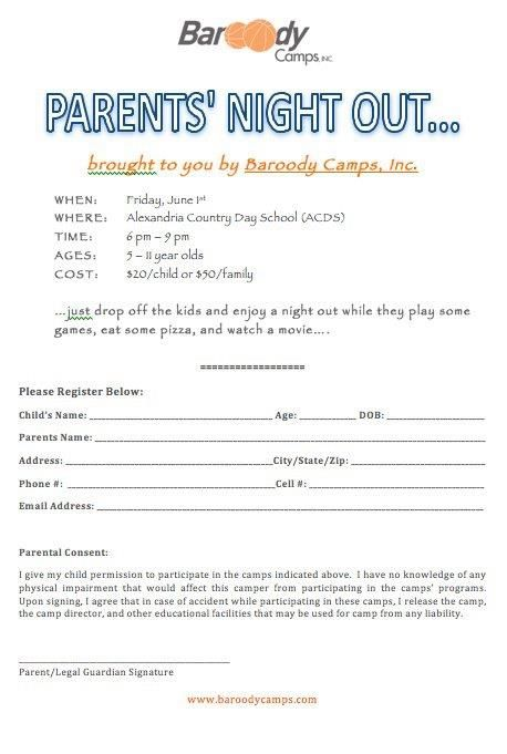 Parents Night Out  Camp Info    Parent Night