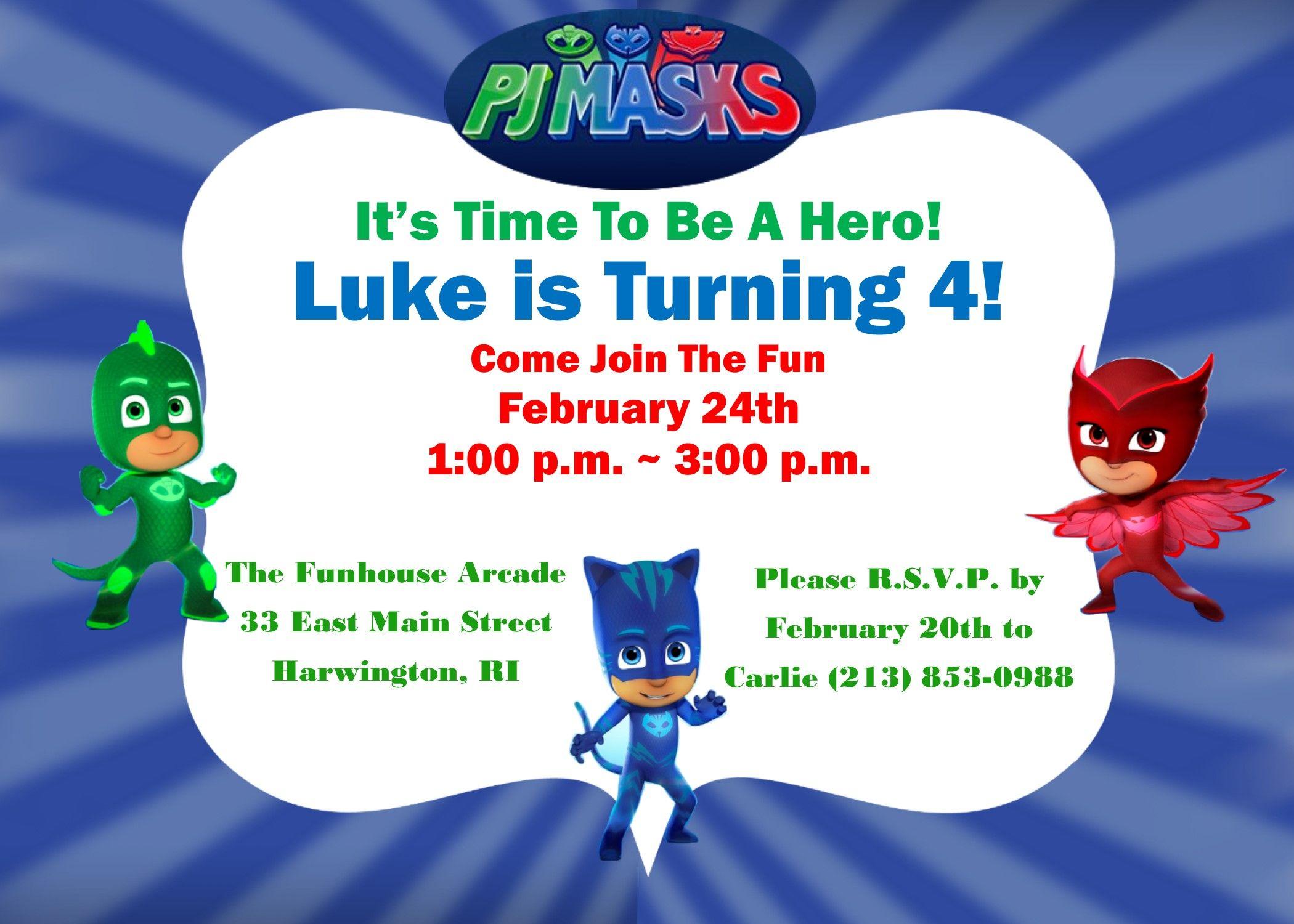 PJ Masks Birthday Invitation Available printed or DIY | PJ Masks ...