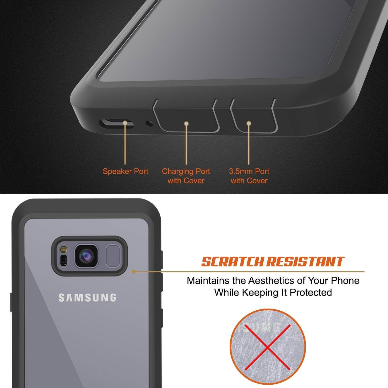 new arrival 1b370 a1984 Galaxy S8 Case, [Spartan Series] Clear Rugged Heavy Duty Cover W ...
