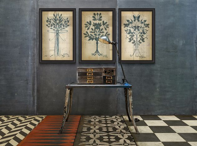 Ink Blot Botany And Vintage Vinyl Floor Cloths By Spicher
