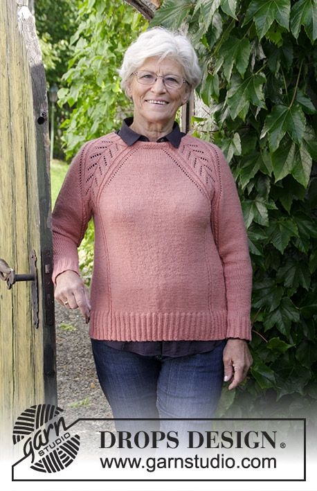 F Drops 179 23 Knitted Jumper With Raglan Lace Pattern Cables