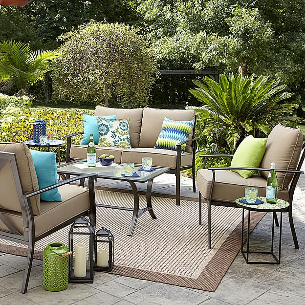 Garden Oasis Harrison 4 Piece Cushion Seating Set Tan Sears 299 99 Outdoor Seating Set Patio Furniture Replacement Cushions Outdoor Seating