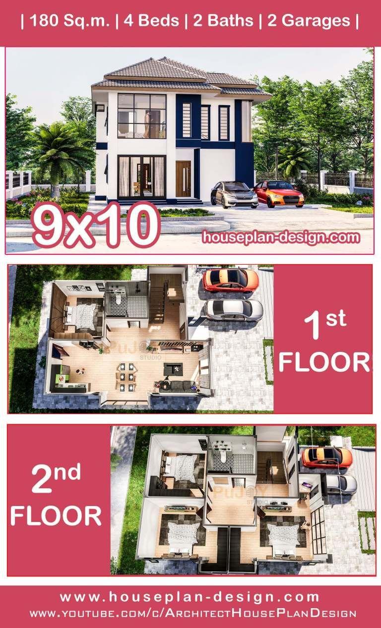House Plan Design Modern Villa Plan 9x10m 4 Bedrooms