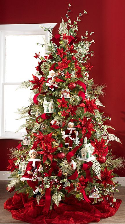 poinsettia christmas tree christmas tree decorations xmas tree silver christmas tree - Poinsettia Christmas Decorations