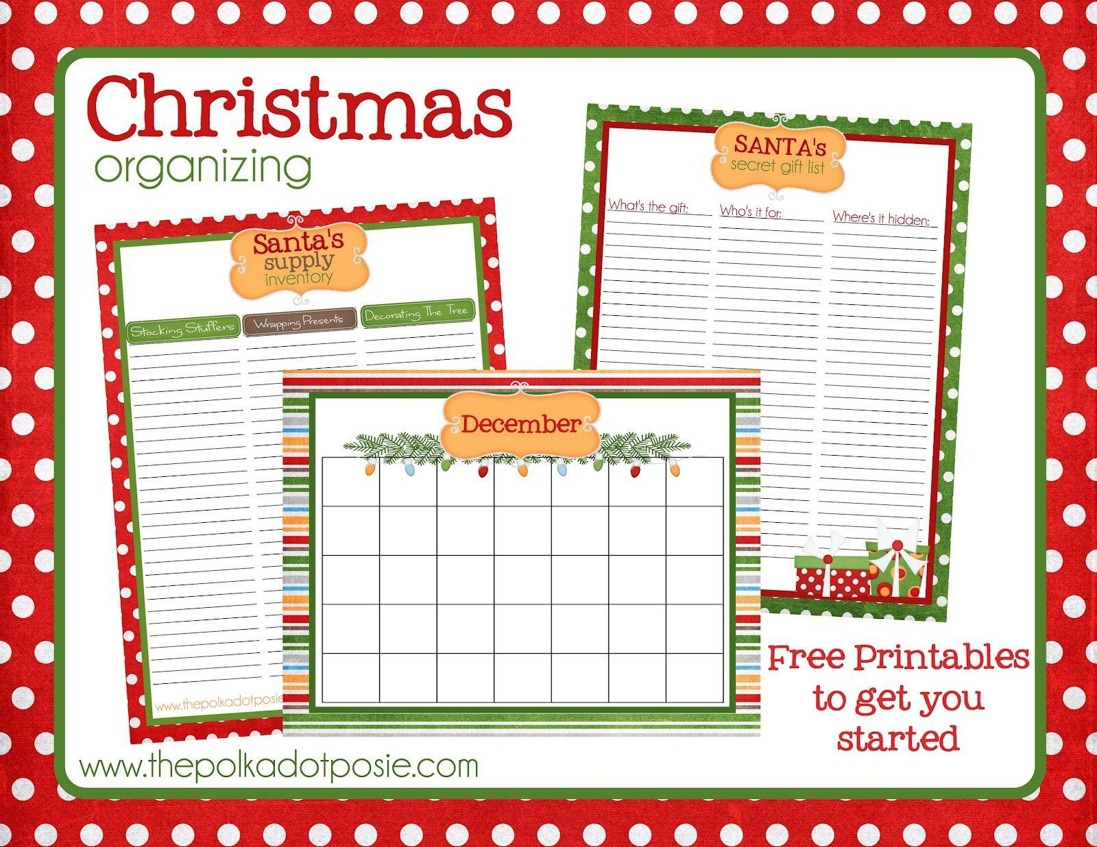 free christmas printables blank december calendar santa 39 s supply list and santa 39 s secret gift. Black Bedroom Furniture Sets. Home Design Ideas