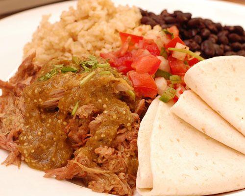 Chili Verde: Braised pork with green chile-tomatillo sauce, pico de gallo, black beans, brown rice-quinoa pilaf, flour tortillas