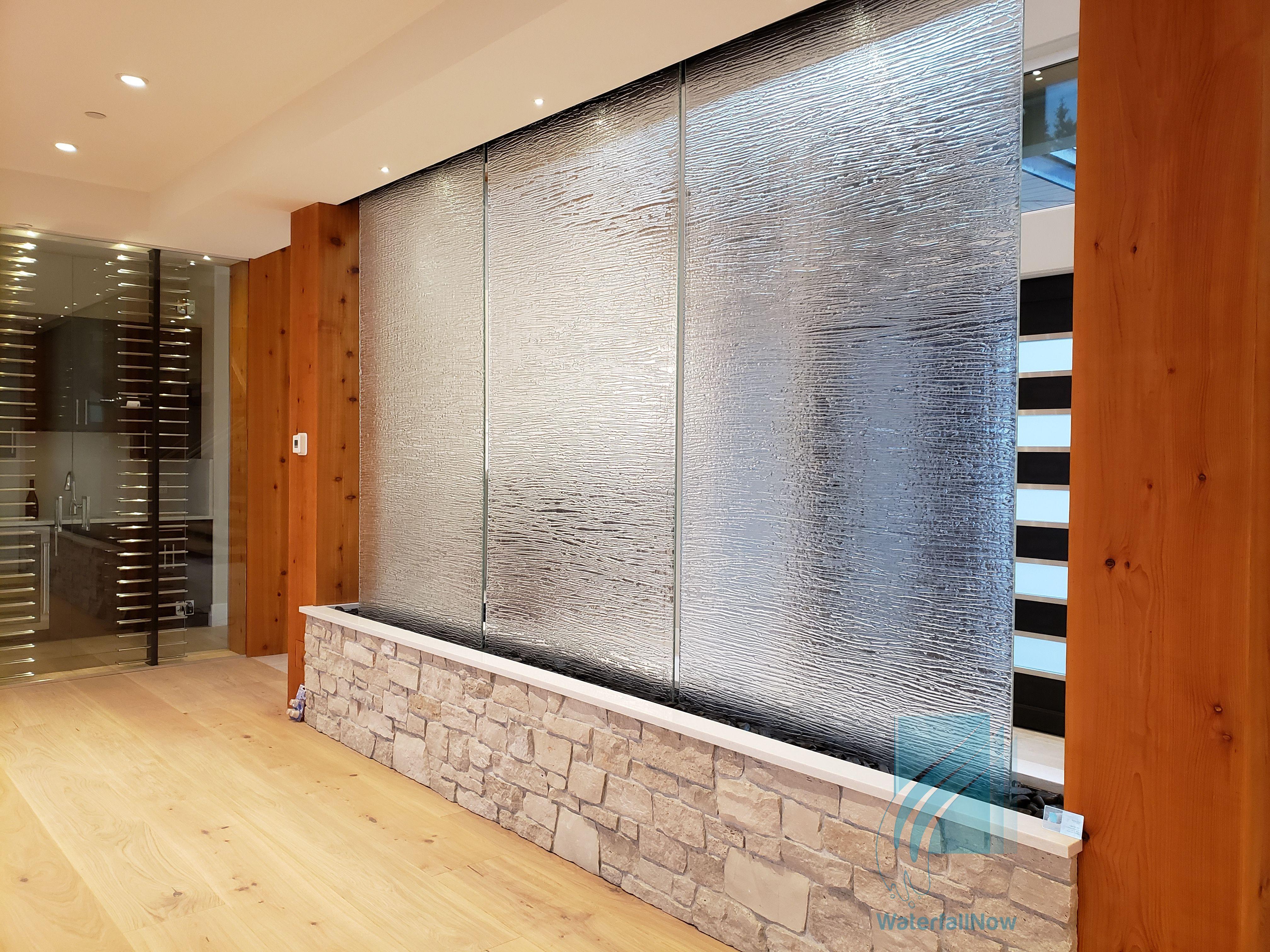 Indoor Glass Waterfall Fountain In 2020 Glass Waterfall