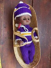"""VINTAGE Baby In Basket Black Baby Doll With Outfit 12"""" Height"""