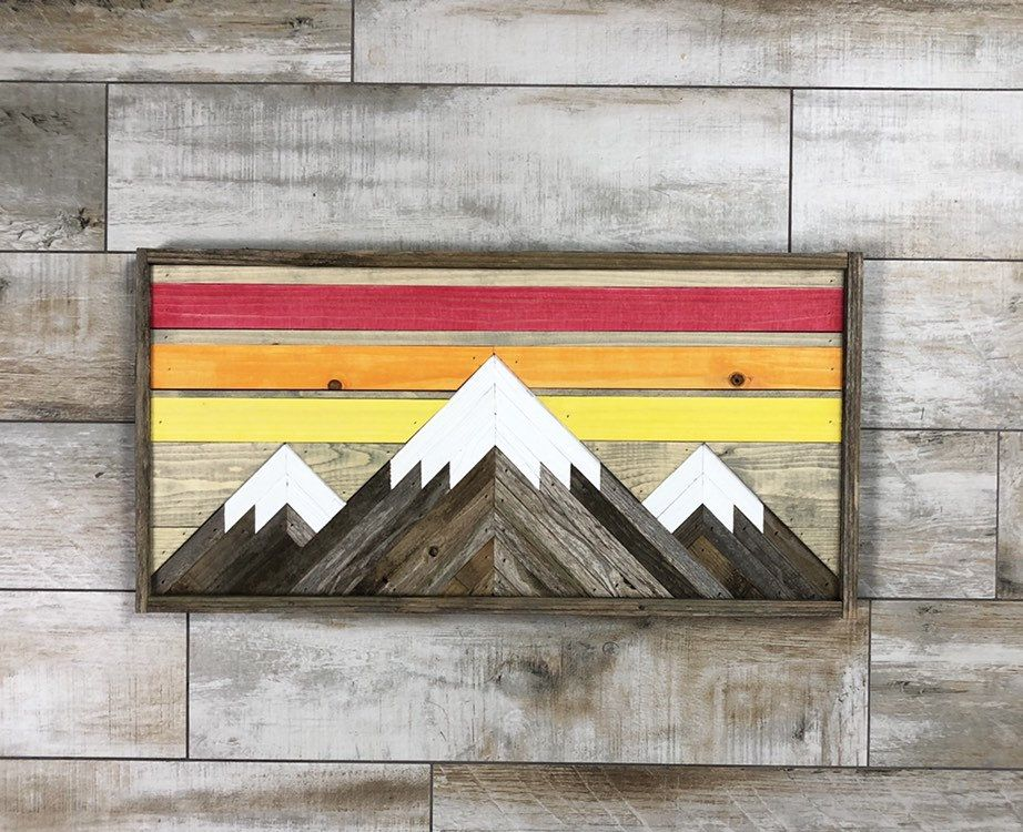 Rustic Mountain Tops Colorado Edition Single Piece Etsy Mountain Wood Wall Art Reclaimed Wood Wall Art Wood Wall Art Decor