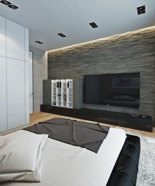 einrichten-naturtonen-wohnideen-schlafzimmer-steinwand-led - schlafzimmer wohnidee
