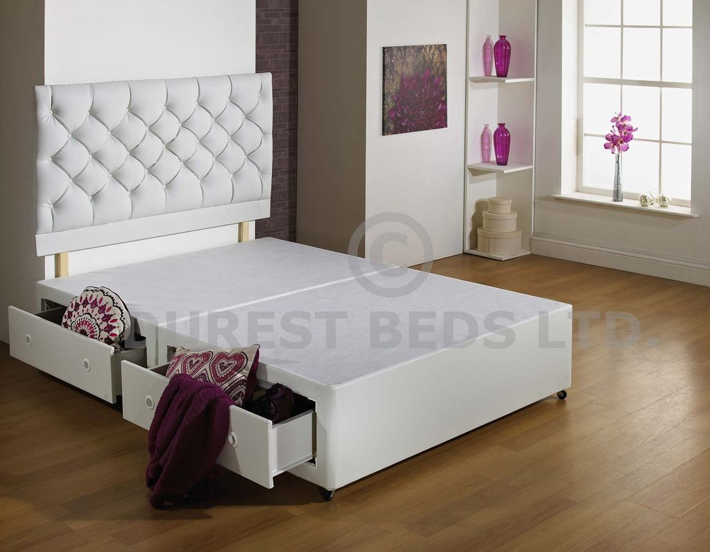 Details About New White 3ft 4ft6 5ft 6ft Size Luxury Divan Bed
