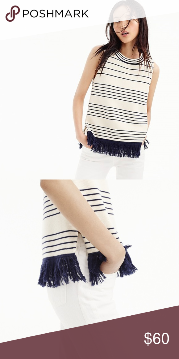 af9aac5c15c4f NWT J. Crew Fringed Boatneck Shell in Stripe A nautical-inspired shell with  a