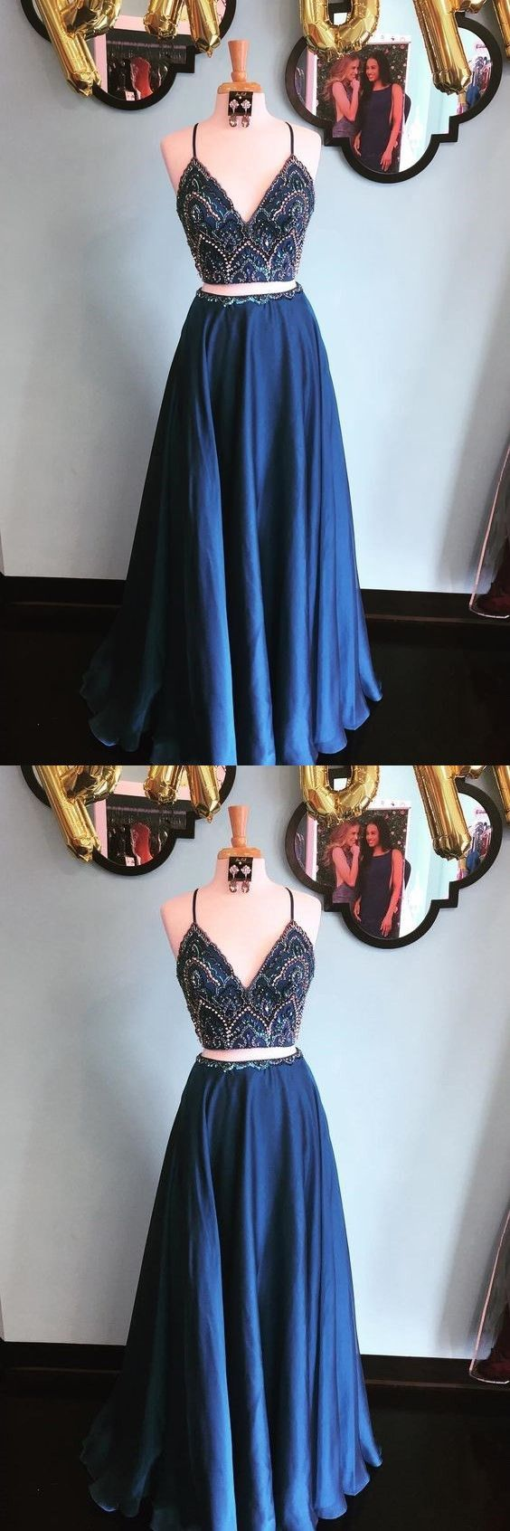 Sparkly two piece sequins navy blue long prom dress g from
