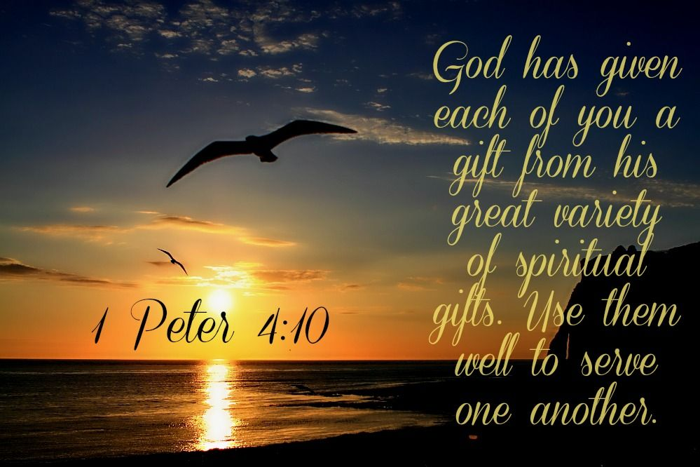 3 3 1 peter 410 nlt 10 god has given each of you a gift from 1 peter nlt 10 god has given each of you a gift from his great variety of spiritual gifts use them well to serve one another negle Choice Image