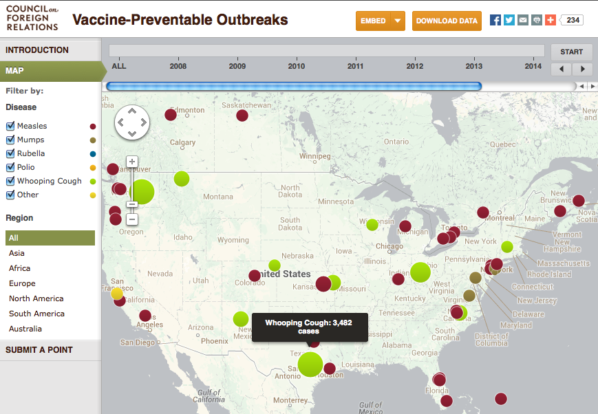 screenshot of interactive infectious disease outbreak map
