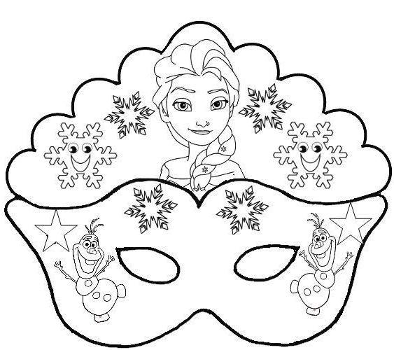 Molde De Mascara De Elsa De Frozen Con Olaf En 2020 Antifaces Para Ninos Mascaras Para Ninos Mascaras Para Imprimir