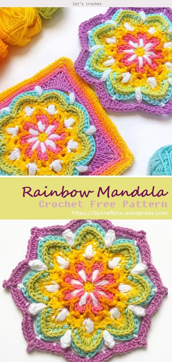 Photo of Vintage Rainbow Mandala Crochet Free Pattern