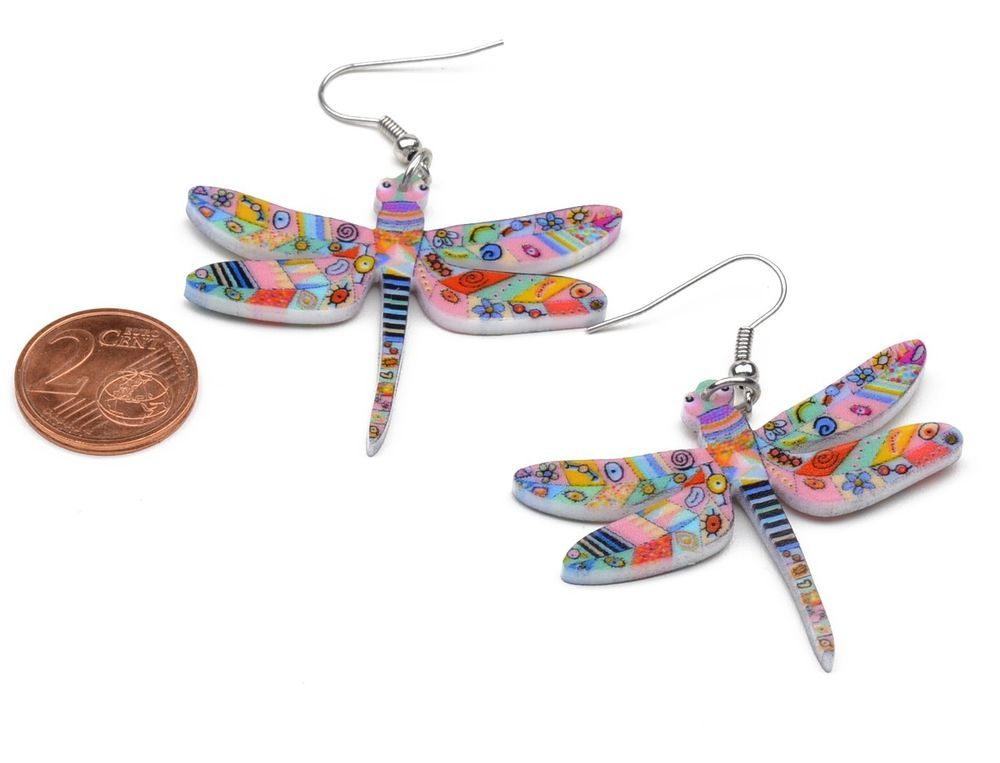 Libelle Schmetterling Rosa Bunt Ohrringe Hänger Kinder Süss Schmuck Tier