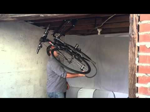 Hide A Ride Lets You Store Your Bicycle On Your Ceiling Indoor Bike Storage Bike Storage Bicycle