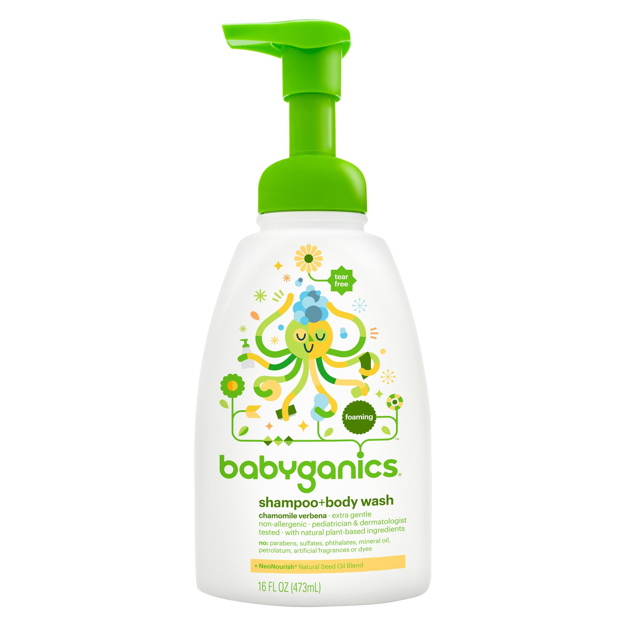 Babyganics Baby Shampoo Body Wash Pump Bottle 16 Fl Oz