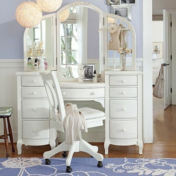 Elegant White Dressign Table Teenage Girl Bedroom Furniture Ideas Mirror  Pendant Lamps